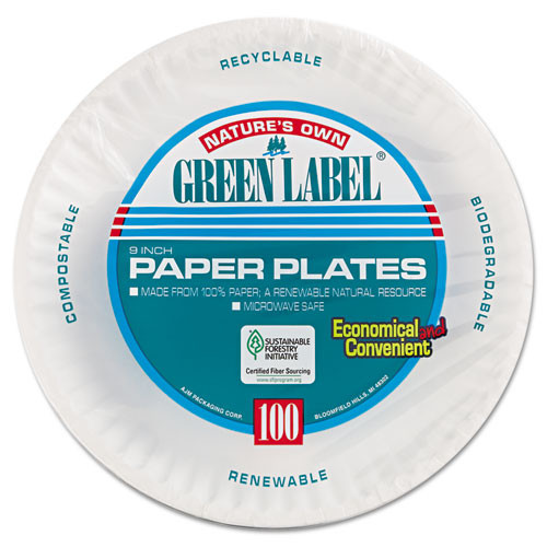 AJM Packaging Corporation Paper Plates  9  Diameter  White  100 Pack (AJMPP9GRAWHPK)