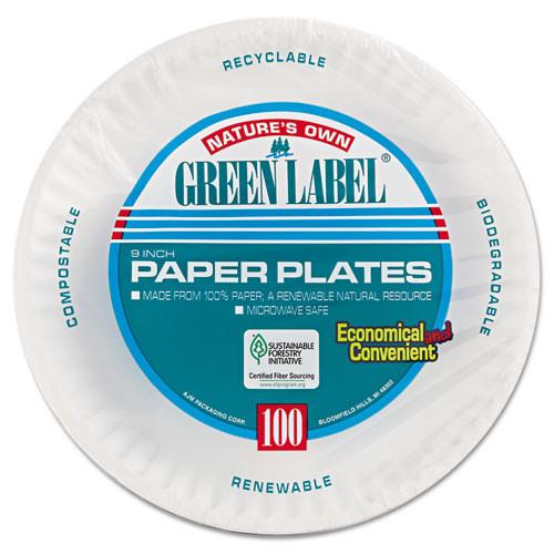 AJM Packaging Corporation Paper Plates  9  Diameter  White  100 Pack (AJMPP9GRAWHPK)