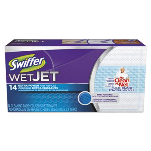 "Swiffer WetJet System Refill Cloths, 11.3"" x 5.4"", Extra Power, White, 14/Box, 4 BX/CT (PGC81790CT)"