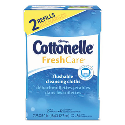 Cottonelle Fresh Care Flushable Cleansing Cloths  White  3 73 x 5 5  84 Pack  8 Pk Ctn (KCC35970CT)