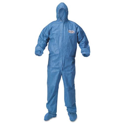 KleenGuard* A60 Blood and Chemical Splash Protection Coveralls, Large, Blue, 24/Carton (KCC45093)