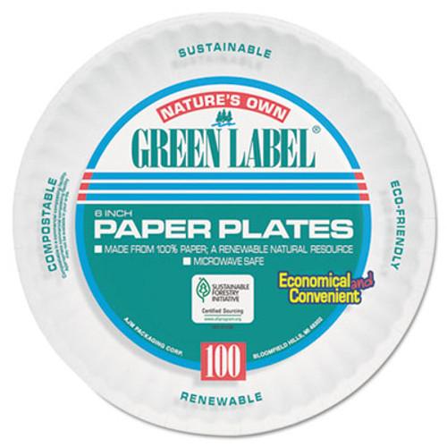 AJM Packaging Corporation Paper Plates  6  Diameter  White  Bulk Pack  1000 Carton (AJMPP6AJKWH)