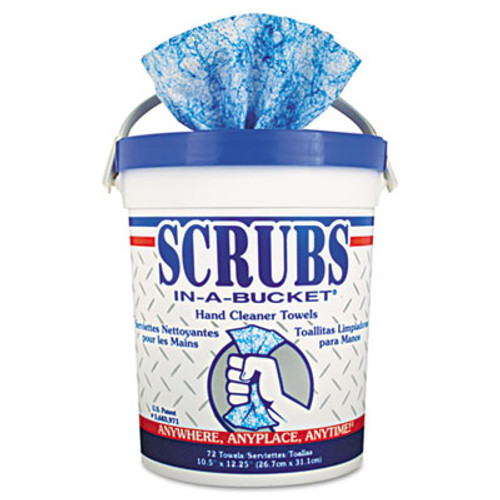 SCRUBS Hand Cleaner Towels, Cloth, 10 1/2 x 12 1/4, Blue/White, 72/Bucket (ITW42272EA)