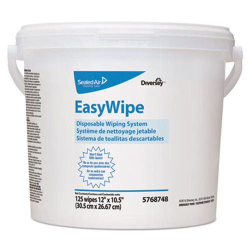 Diversey Easywipe Disposable Wiping Refill, 8 5/8 x 24 7/8, White, 125/Bucket, 6/Carton (DVO5768748)