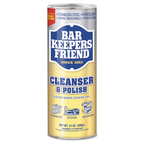 Bar Keepers Friend Powdered Cleanser and Polish  21 oz Can  12 Carton (BKF11514CT)