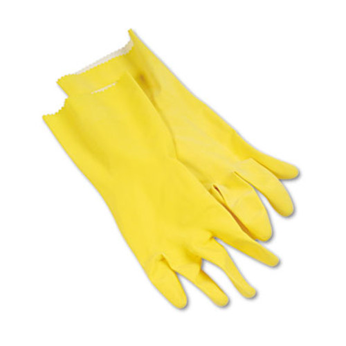 Boardwalk Flock-Lined Latex Cleaning Gloves, Large, Yellow, 12 Pairs (BWK242L)