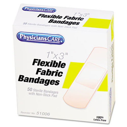 "PhysiciansCare by First Aid Only First Aid Fabric Bandages, 1"" x 3"", 50/Box (ACMG121)"