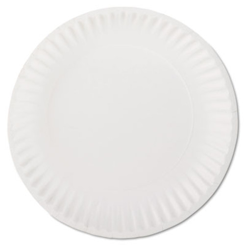 "AJM Packaging Corporation White Paper Plates, 9"" Diameter, 100/Bag (AJMPP9GREWHPK)"
