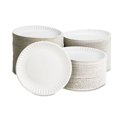 AJM Packaging Corporation White Paper Plates  9  Diameter  100 Bag (AJMPP9GREWHPK)