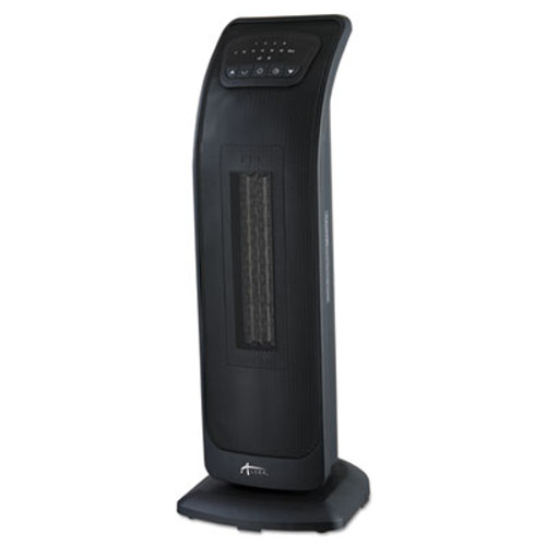 Alera Tower Ceramic Heater with Remote Control  9 1 8 w x 8 3 8 d x 23 h  Black (ALEHECT23)