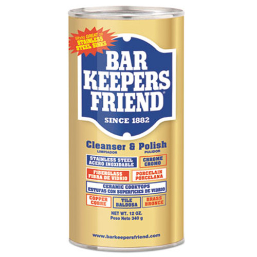 Bar Keepers Friend Powdered Cleanser and Polish  12 oz Can  12 Carton (BKF11510)