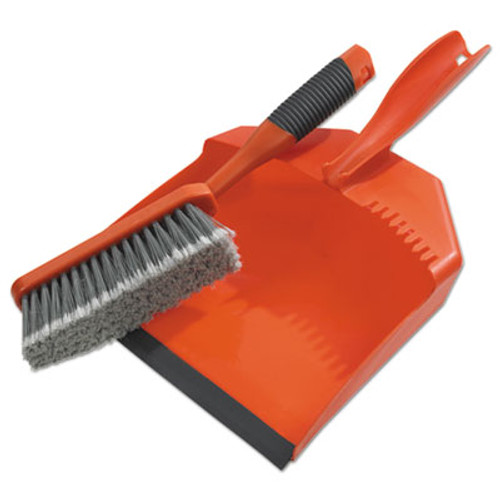 "BLACK+DECKER Dust Pan & Brush Set, Plastic, 9 1/2"" Wide, 6 1/2"" Handle, Orange, 3/Box (BUT264012)"