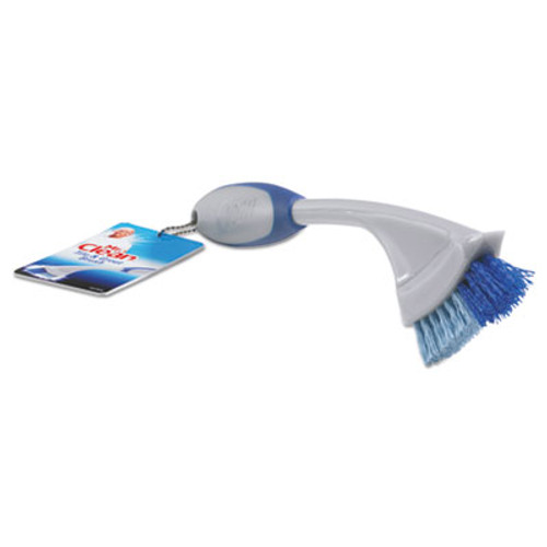 "Mr. Clean Tile & Grout Brush, 9"" Handle, 1"" Bristles, Gray/Blue, 12/Box (BUT442408)"