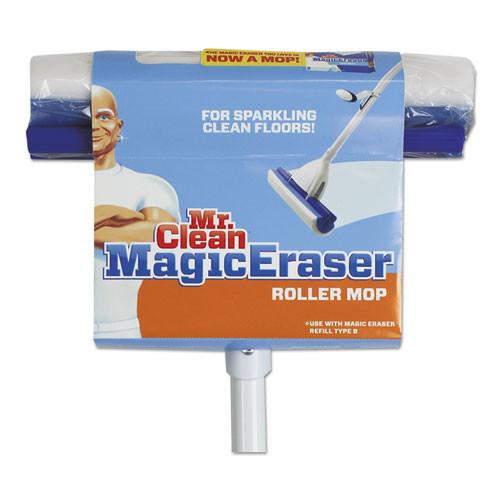 Mr. Clean Magic Eraser Roller Mop  45  Handle  10 1 2 x 3 Head  White Blue (BUT446840)