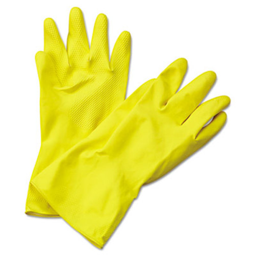 Boardwalk Flock-Lined Latex Cleaning Gloves, X-Large, Yellow, 12 Pairs (BWK242XL)