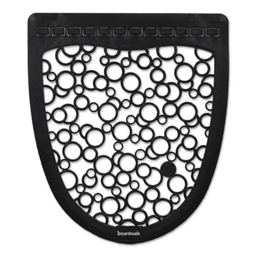 Boardwalk Urinal Mat 2 0  Rubber  17 5 x 20  Black White  6 Carton (BWKUMBW)