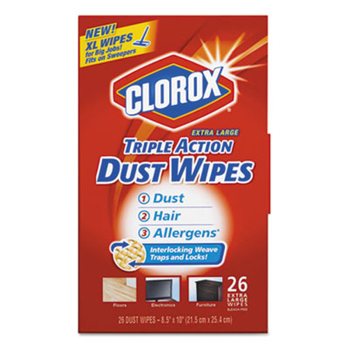 Clorox Triple Action Dust Wipes, White, 8 1/2 x 10, 26/Box, 7 Box/Carton (CLO31311)
