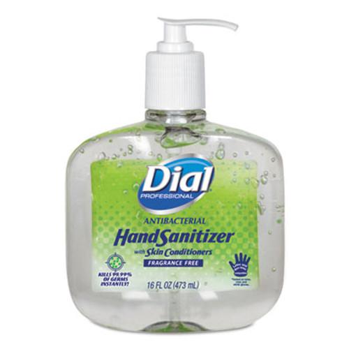 Dial Professional Antibacterial Gel Hand Sanitizer w/Moisturizers, 16 oz Pump, Fragrance-Free (DIA00213EA)