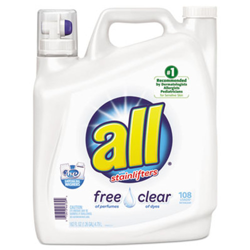 Diversey All Free Clear 2x Liquid Laundry Detergent, Unscented, 162 oz Bottle, 2/Carton (DVOCB461391)