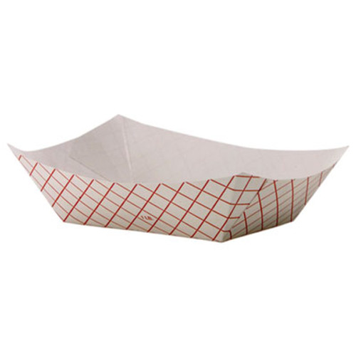 Dixie Kant Leek Polycoated Paper Food Tray  4 7 10 x 1 3 5 x 6 1 4  Red Plaid  1000 CT (DXERP1008)