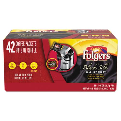 Folgers Coffee  Black Silk  1 4 oz Packet  42 Carton (FOL00019)