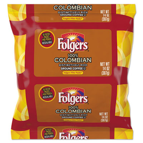 Folgers Coffee Filter Packs  100  Colombian  1 4 oz Pack  40 Carton (FOL10107)