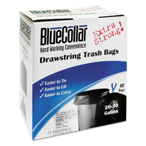 BlueCollar Drawstring Trash Bags, 20-30gal, 1mil, 30 x 34, Black, 40/Box, 6 Boxes/Carton (HERN6034YKRC1CT)