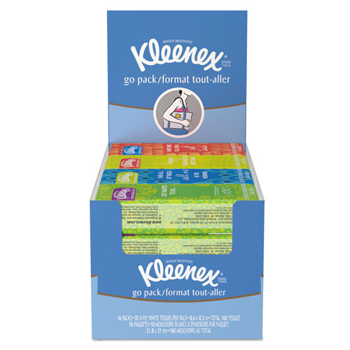 Kleenex On The Go Packs Facial Tissues  3-Ply  White  10 Sheets Pack  16 Packs Box  12 Boxes Carton (KCC11975)