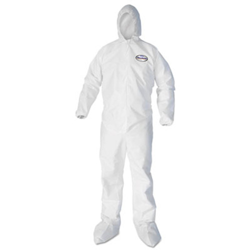 KleenGuard* A40 Elastic-Cuff Hood and Boot Coveralls, White, 4X-Large, 25/Carton (KCC44337)