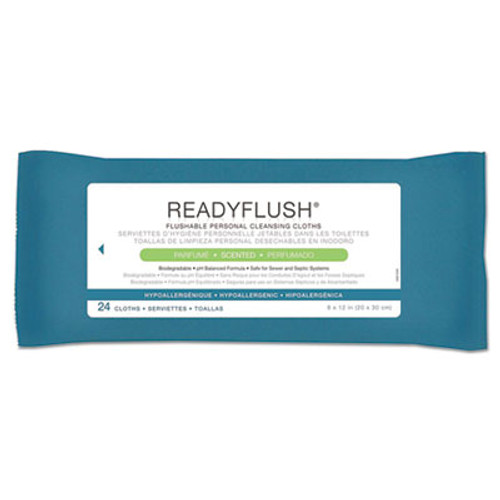 Medline ReadyFlush Biodegradable Flushable Wipes  8 x 12  24 Pack (MIIMSC263810)