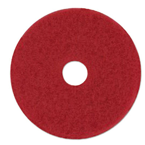 3M Red Buffer Floor Pads 5100, Low-Speed, 28 x 14, 10/Carton (MMM59065)
