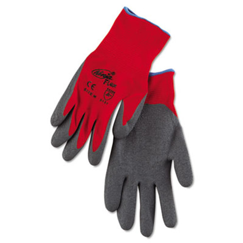 Memphis Ninja Flex Latex-Coated-Palm Gloves, Nylon Shell, Medium, Red/Gray (MPGCRW9680MPR)