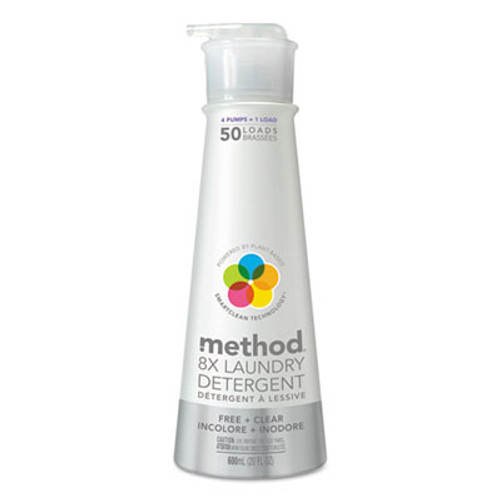 Method 8X Laundry Detergent, Free & Clear, 20 oz Bottle, 6/Carton (MTH01126CT)