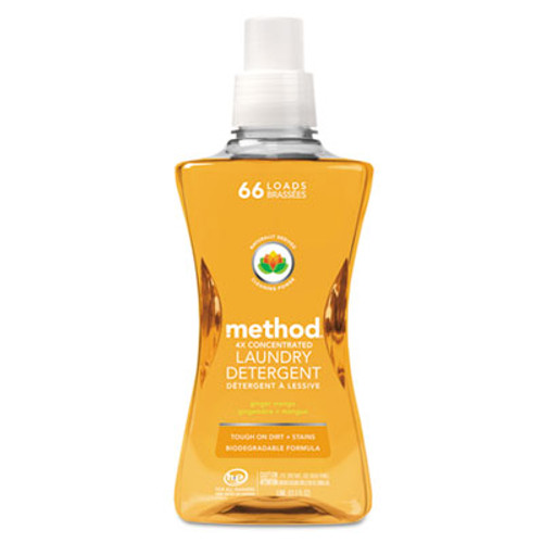 Method 4X Concentrated Laundry Detergent, Ginger Mango, 53.5 oz Bottle, 4/Carton (MTH01490)