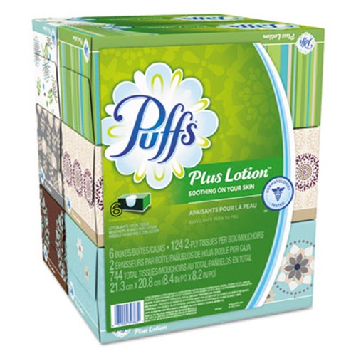 Puffs Plus Lotion Facial Tissue  2-Ply  White  124 Sheets Box  6 Boxes Pack  4 Packs Carton (PGC39383)