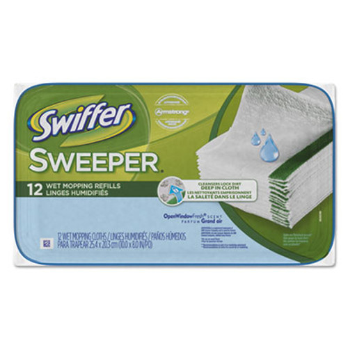 Swiffer Wet Refill Cloths, Open Window Fresh, Cloth, White, 8 x 10, 12/Tub (PGC95531PK)