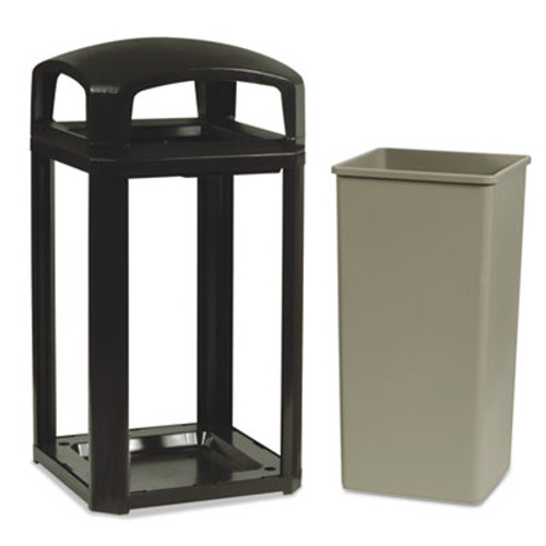 Rubbermaid Commercial Landmark Series Classic Dome Top Container w/Ashtray, Plastic, 50 gal, Sable (RCP397501SAB)