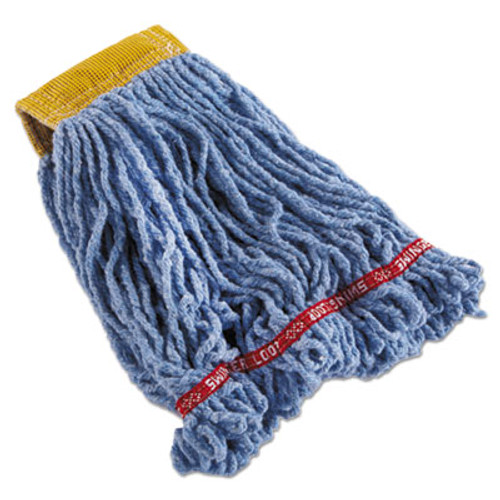 Rubbermaid Commercial Swinger Loop Shrinkless Mop Heads  Cotton Synthetic  Blue  Small  6 Carton (RCPC251BLU)