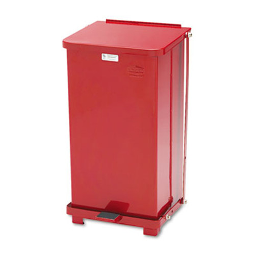 Rubbermaid Commercial Defenders Biohazard Step Can, Square, Steel, 12gal, Red (RCPST12EPLRD)