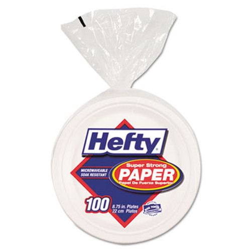 "Hefty Super Strong Paper Dinnerware, 8 3/4"" Plate, Bagasse, 100/Pack, 4 Packs/Carton (RFPD79001)"