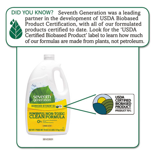 Seventh Generation Natural Automatic Dishwasher Gel  Lemon  Jumbo 70 oz Bottle (SEV22831)