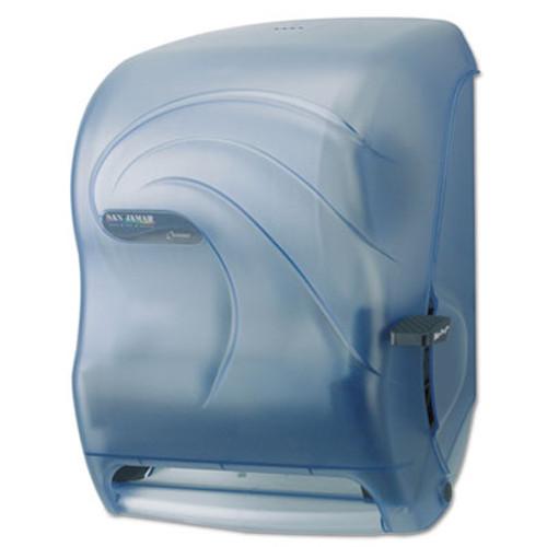 San Jamar Lever Roll Towel Dispenser  Oceans  Arctic Blue  16 3 4 x 10 x 12 (SJMT1190TBL)