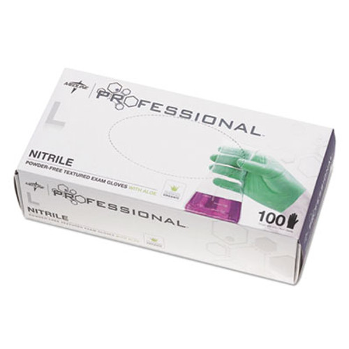 Medline Professional Nitrile Exam Gloves with Aloe  Large  Green  100 Box (MIIPRO31763)