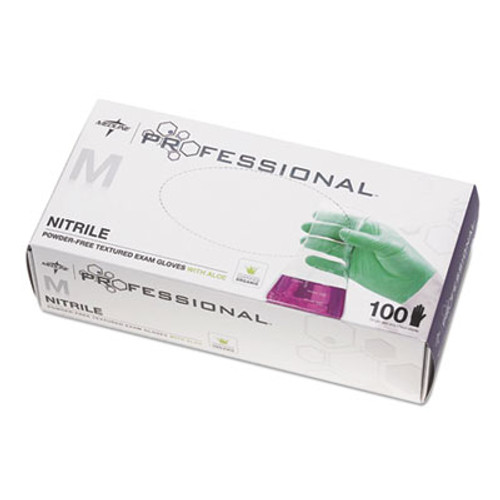 Medline Professional Nitrile Exam Gloves with Aloe  Medium  Green  100 Box (MIIPRO31762)