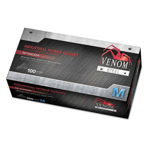 Medline Venom Steel Industrial Nitrile Gloves  Medium  Black  7 mil  100 Box (MIIVEN6142)