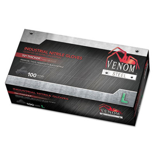 Medline Venom Steel Industrial Nitrile Gloves  Large  Black  6 mil  100 Box (MIIVEN6143)