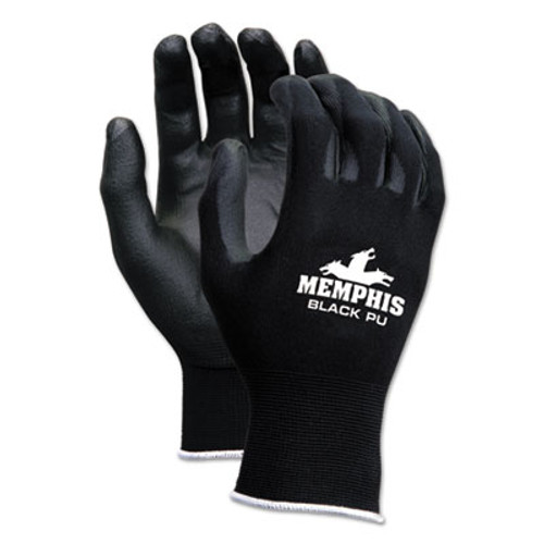 Memphis Economy PU Coated Work Gloves, Black, Small, 1 Dozen (CRW9669S)