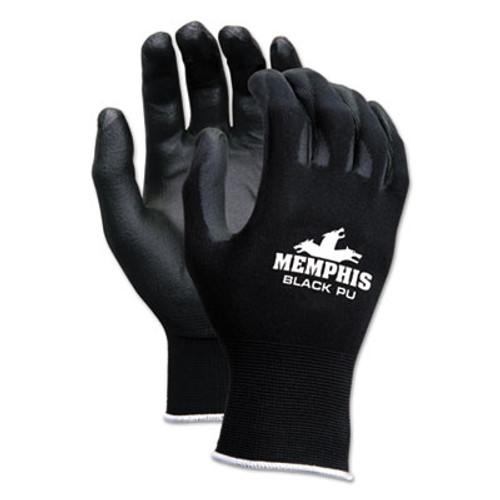 MCR Safety Economy PU Coated Work Gloves  Black  Small  1 Dozen (CRW9669S)