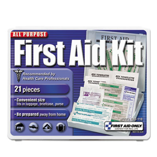 First Aid Only All-Purpose First Aid Kit  21 Pieces  4 3 4 x 3 x 1 2  Blue White (FAO110)