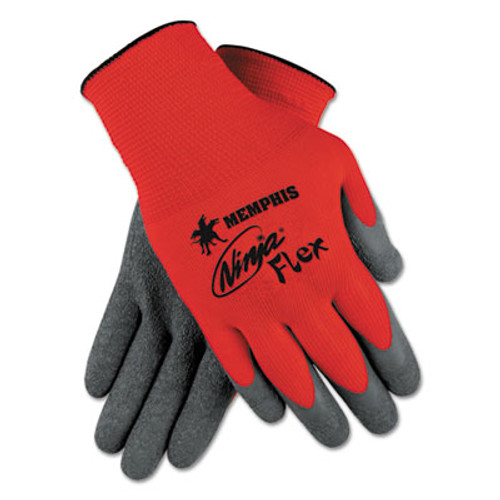 MCR Safety Ninja Flex Latex Coated Palm Gloves N9680L  Large  Red Gray  1 Dozen (CRWN9680L)